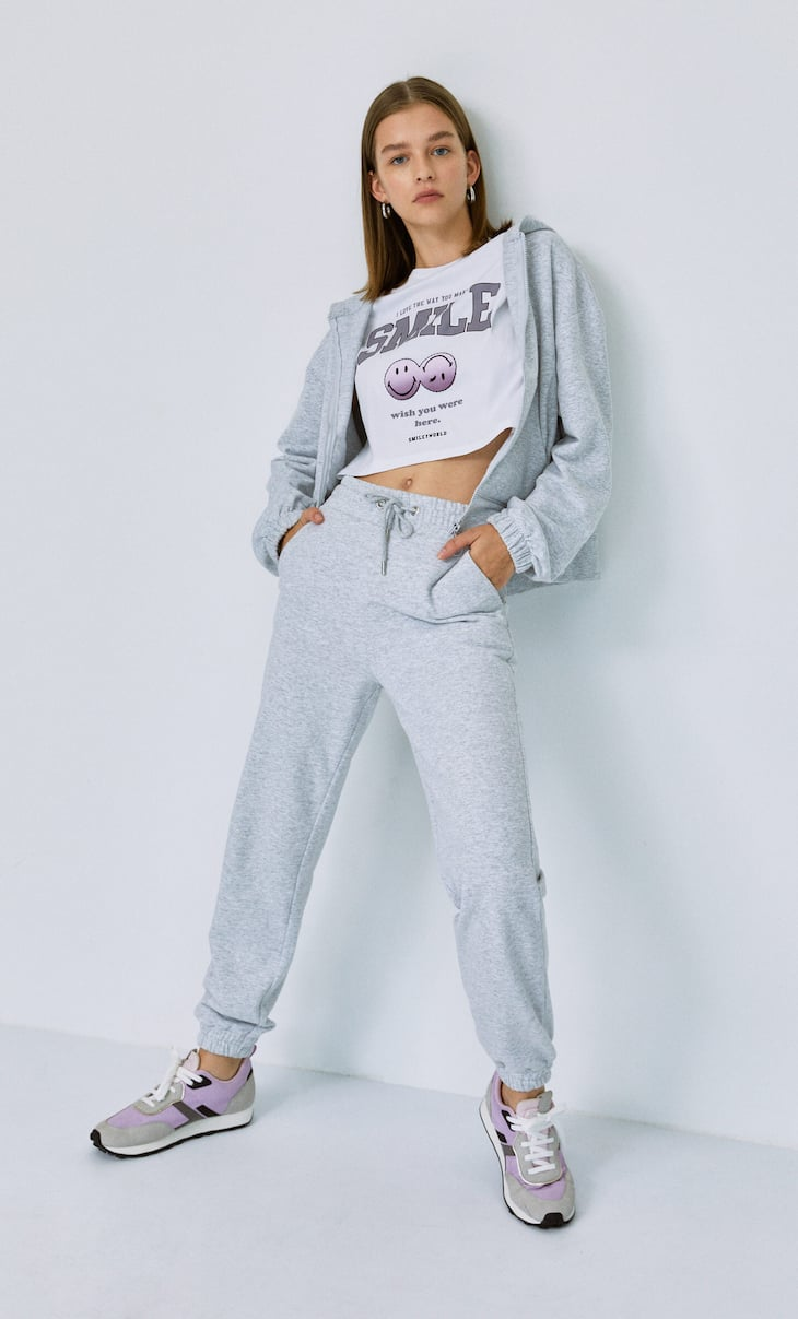 Plush jersey jogging trousers