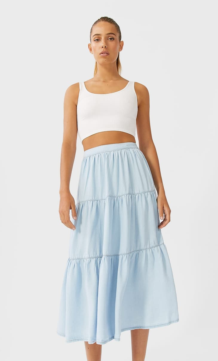 Denim peasant skirt