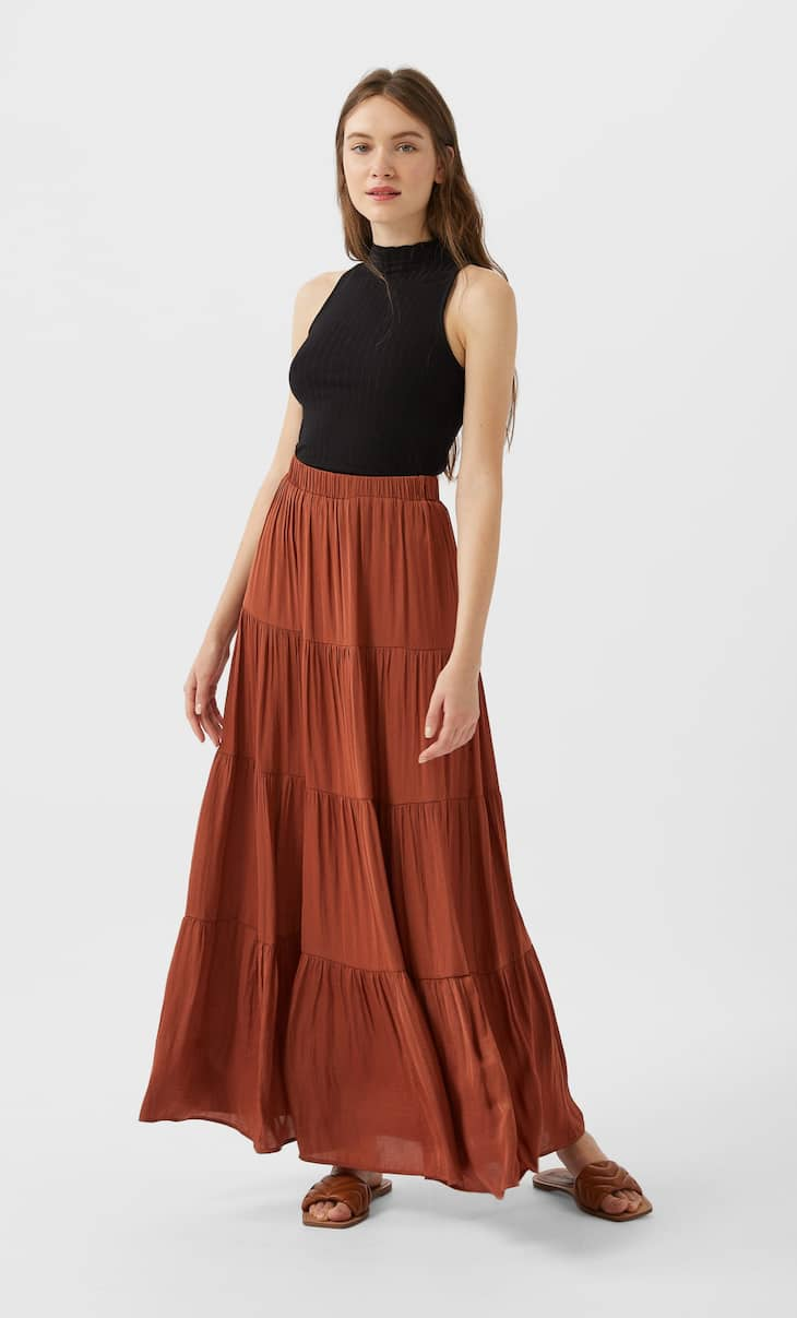 Long satin finish skirt