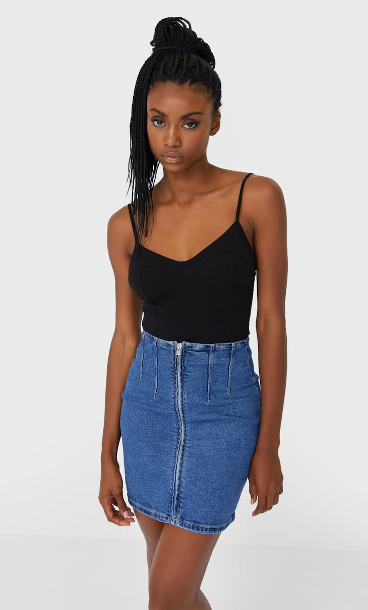 Denim skirt with zip