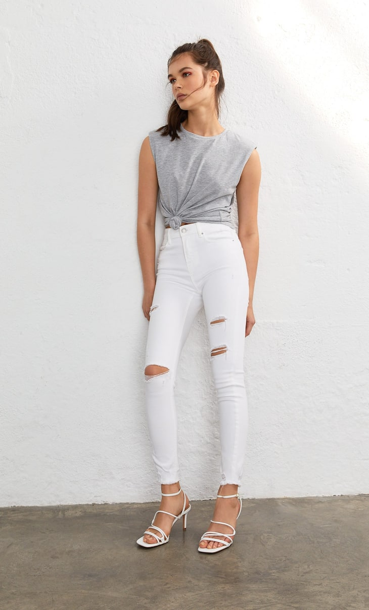 Premium high-waist skinny jeans with rips