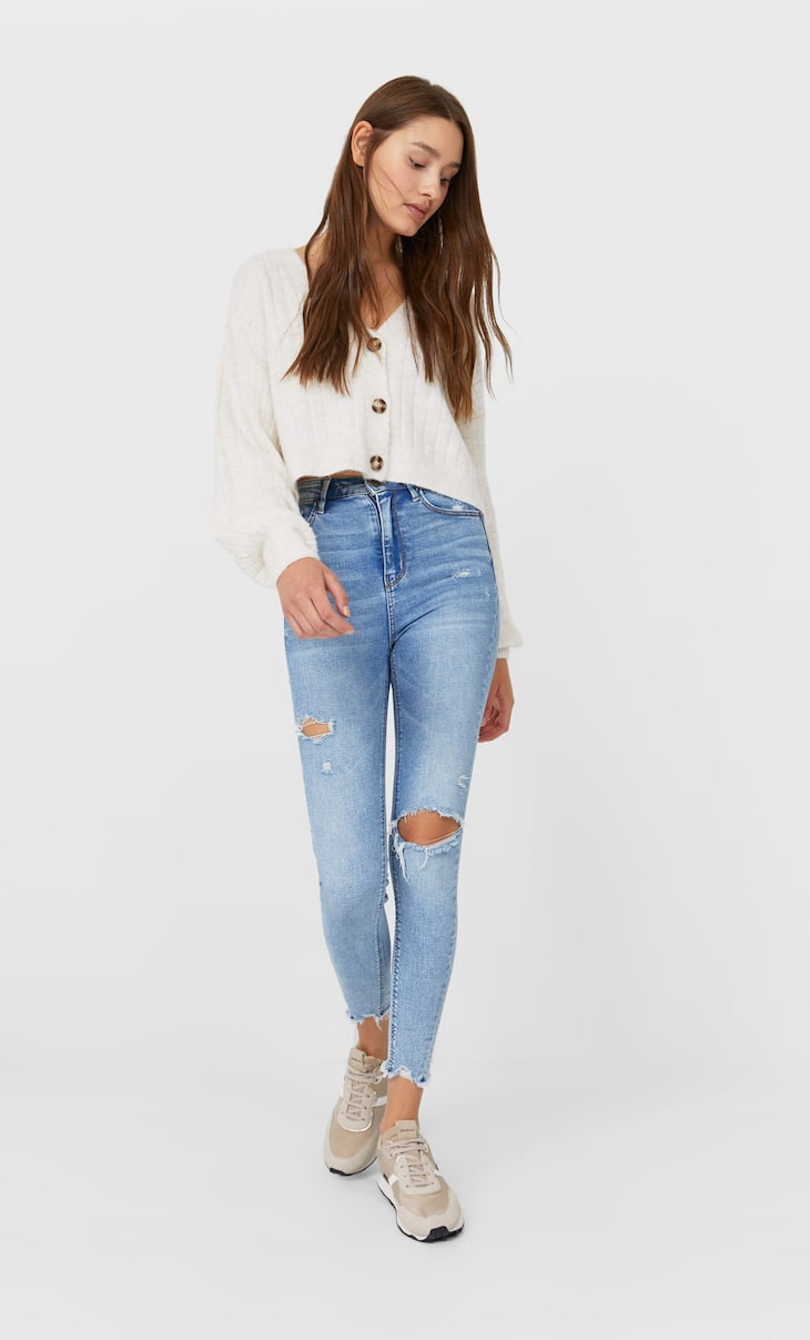 Ripped super high waist jeans