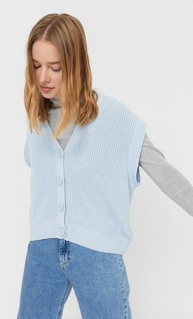 Buttoned knit gilet-style top