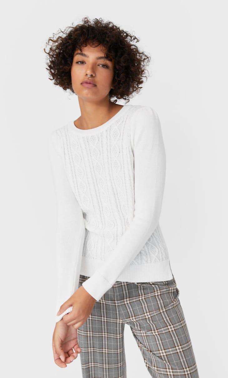 Chunky knit sweater with cable-knit detail