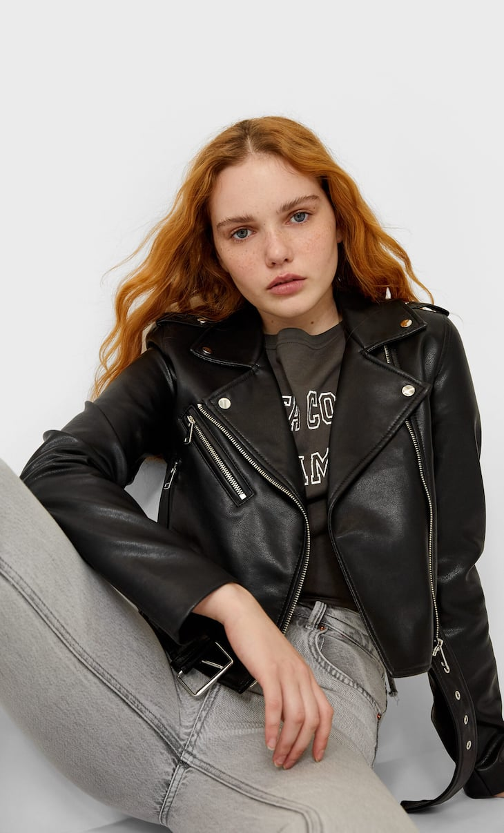 Basic faux leather belted jacket