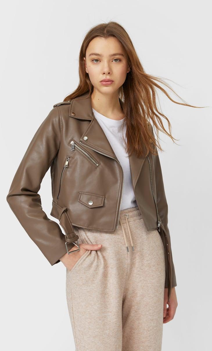 Basic faux leather belted jacket