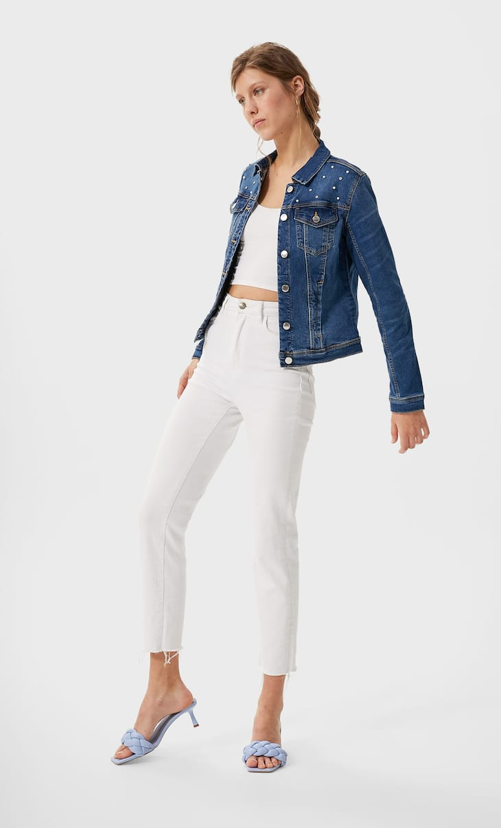 Slim fit denim jacket with faux pearls