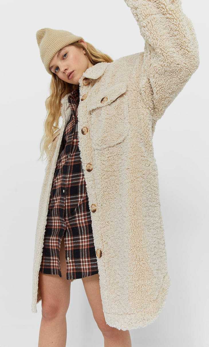 Long faux shearling overshirt