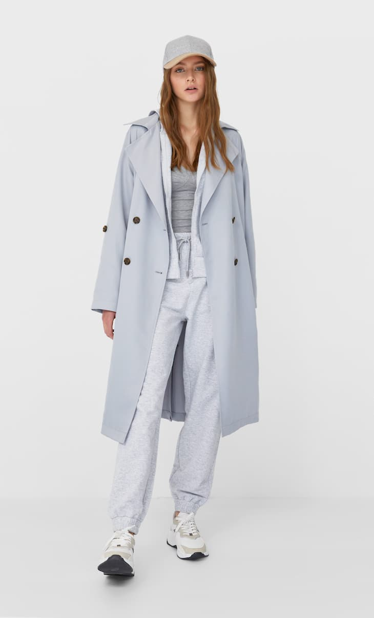 Long flowing trench coat