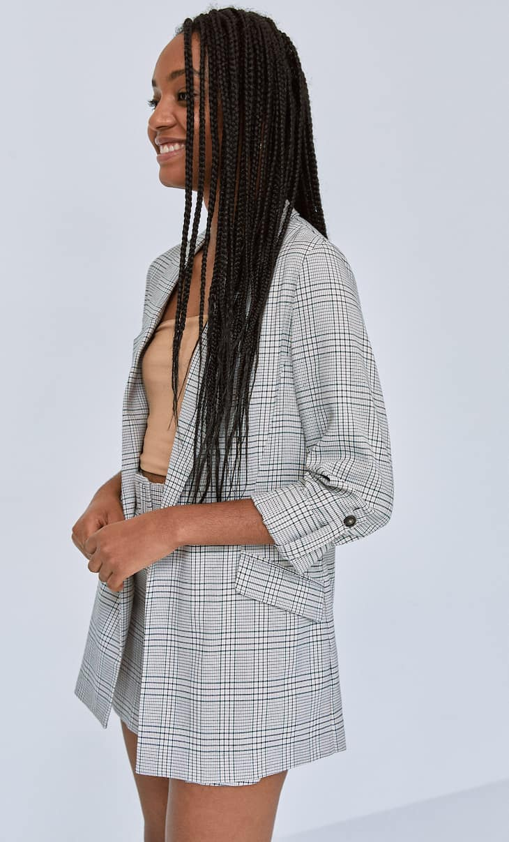 Checked flowing blazer