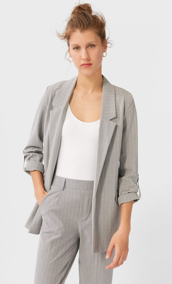 Striped loose-fitting blazer