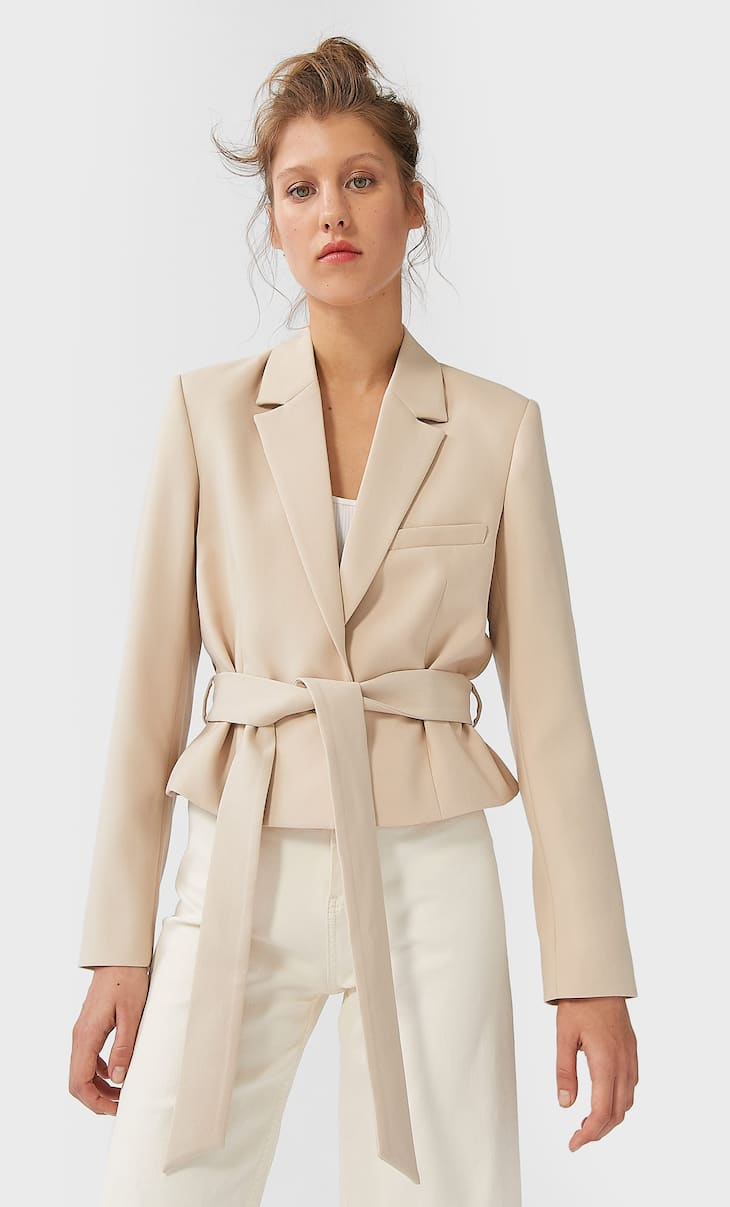 Short belted blazer
