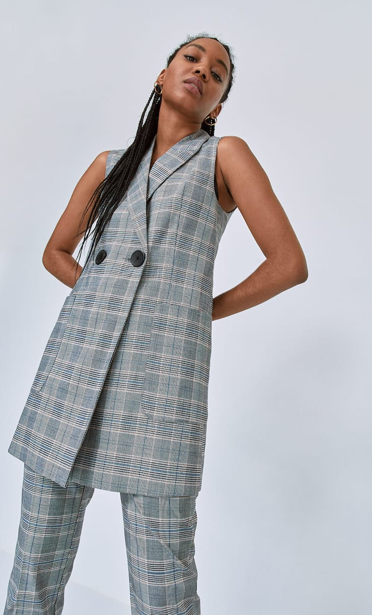Robe veste à carreaux