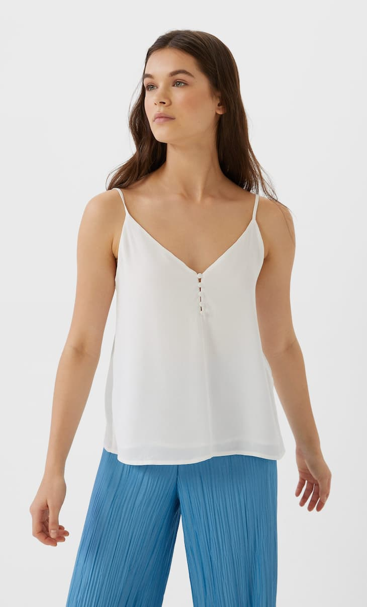 Majica u negliže stilu sa postavljenim dugmićima