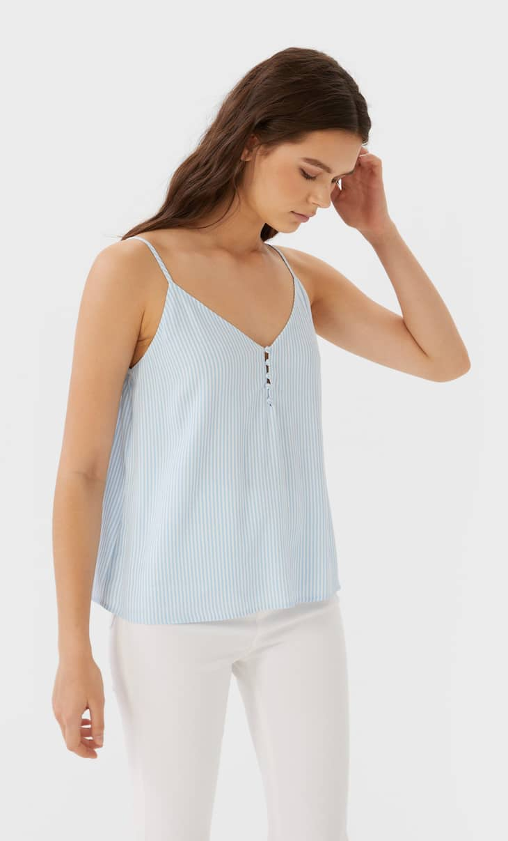 Printed camisole top with buttons