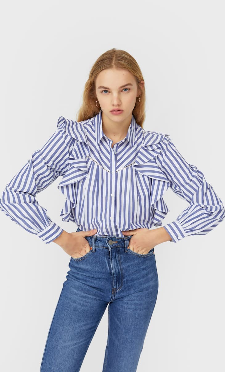 Striped blouse with ruffles