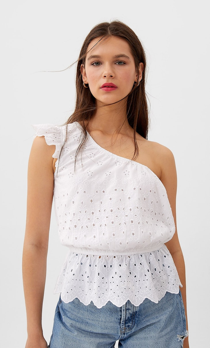 Asymmetric Swiss embroidery top
