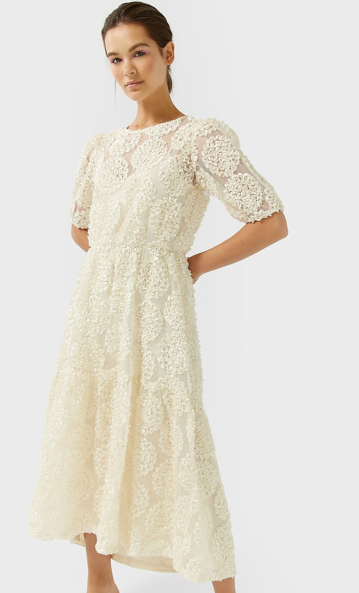 Short sleeve blonde lace dress