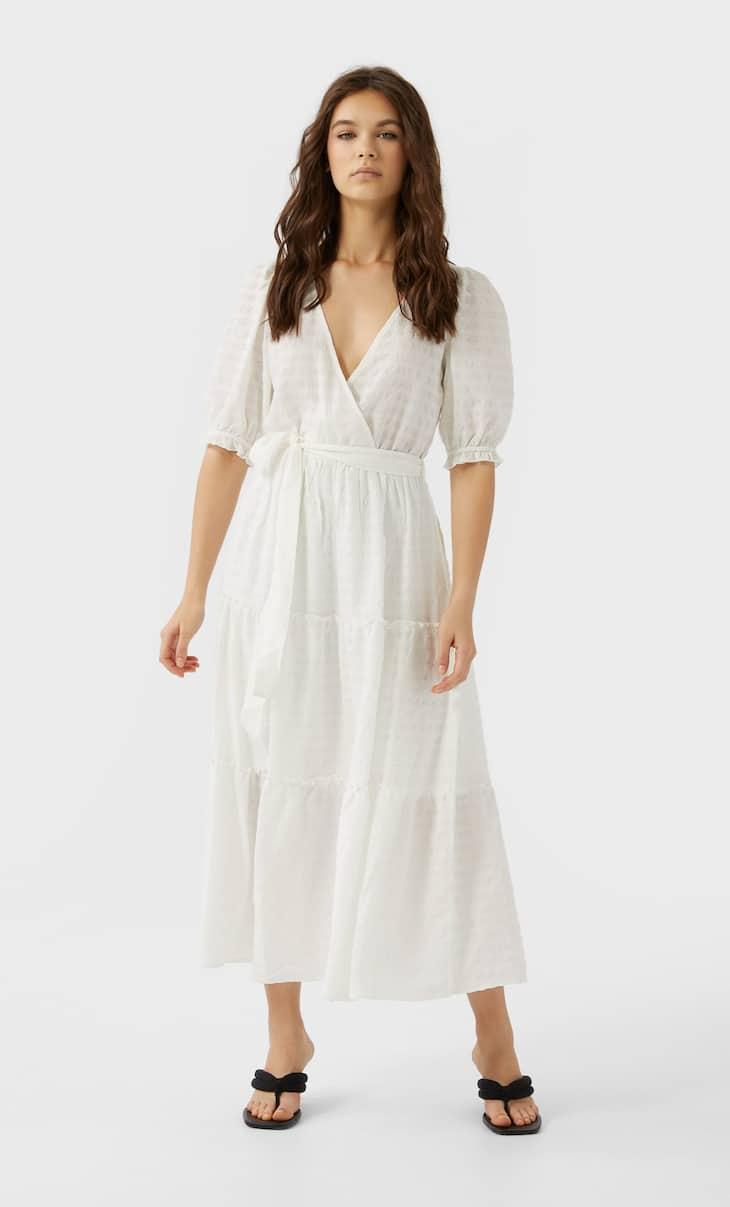 Pötikareli uzun elbise