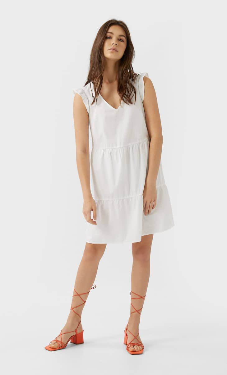 Poplin dress with ruffle trims