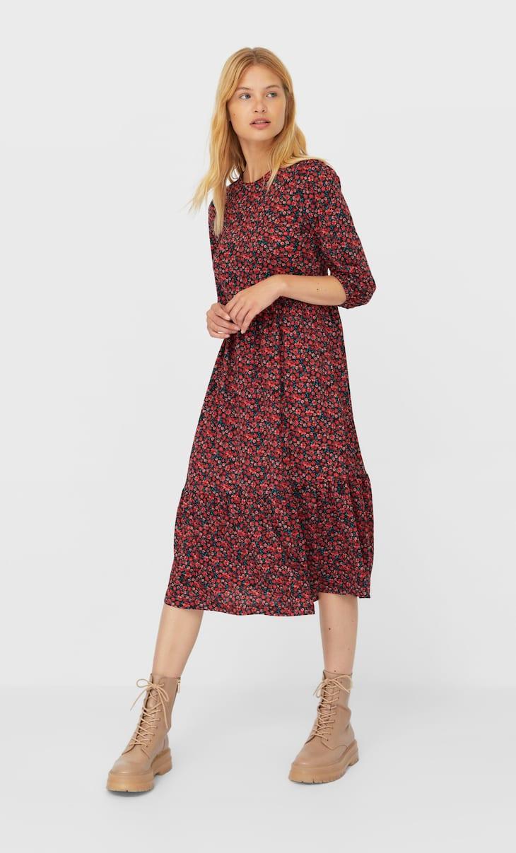 Rochie lungă cu mâneci bufante