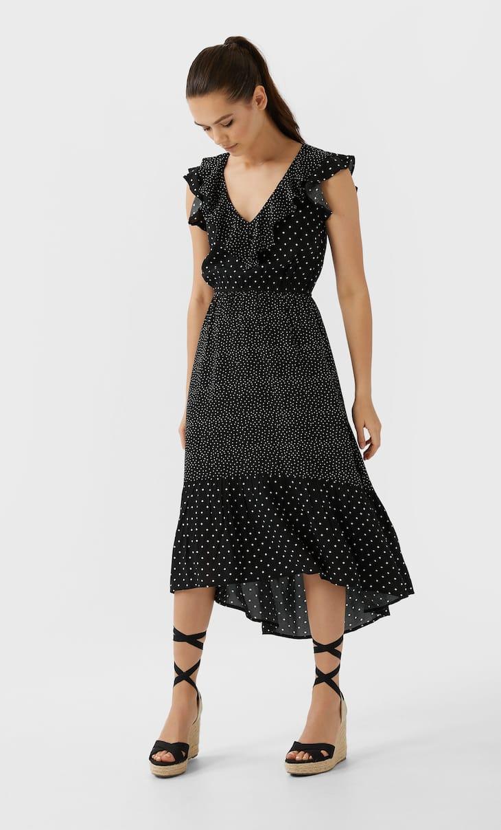 Длинное платье в горошек в стиле пэчворк