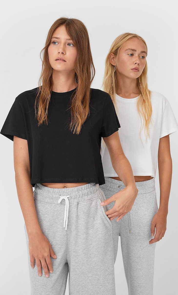 Pack of 2 short sleeve crop tops