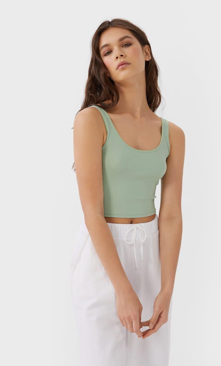 Cropped T-shirt met schouderbandjes