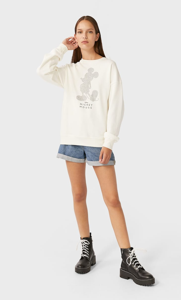 "Sweatshirt ""Mickey"" mit Strass"