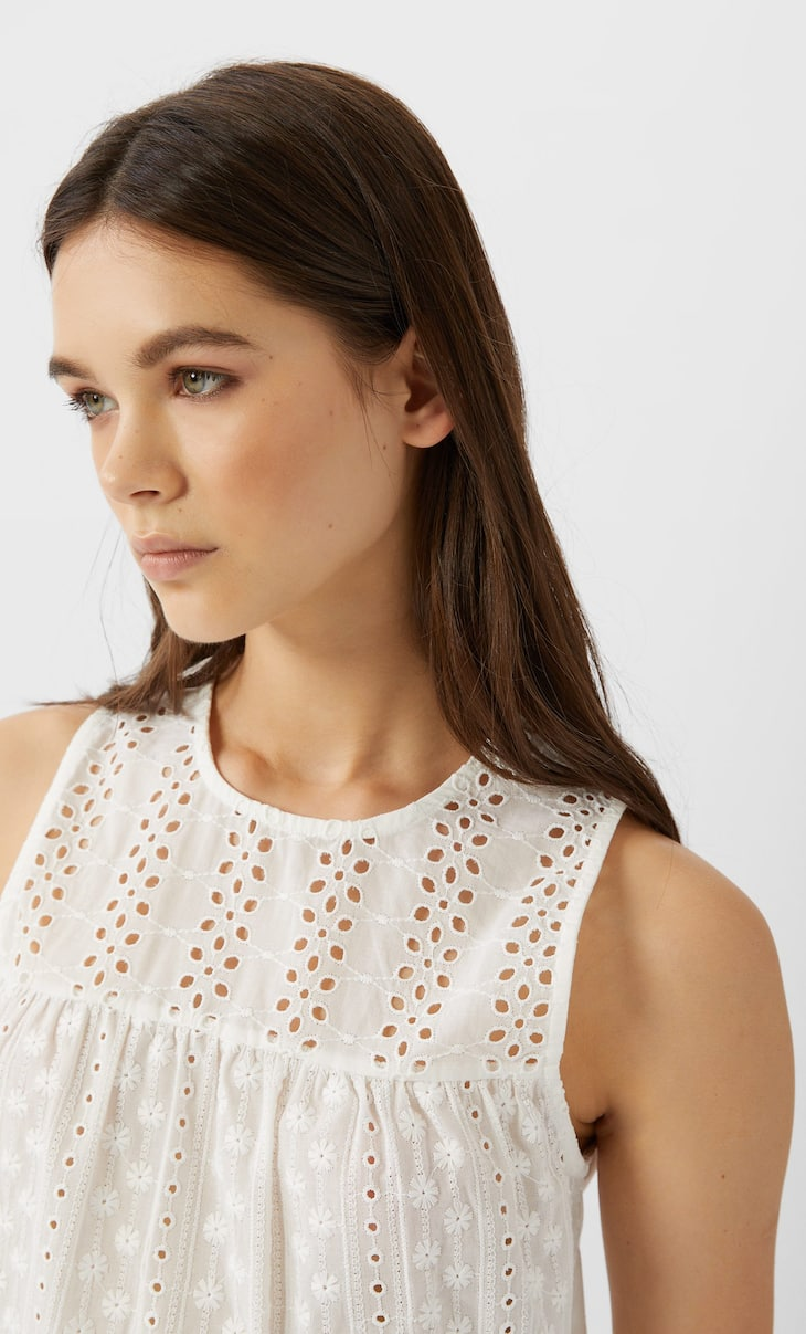 Top with Swiss embroidery