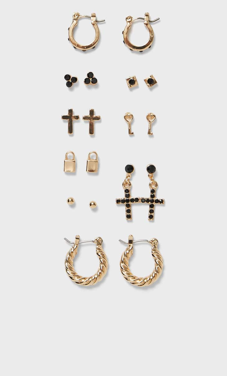 Set of 9 pairs of cross earrings