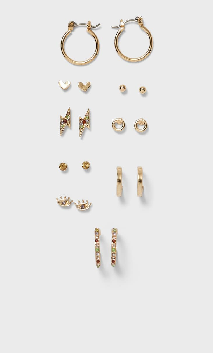 Set of 9 pairs of diamanté earrings