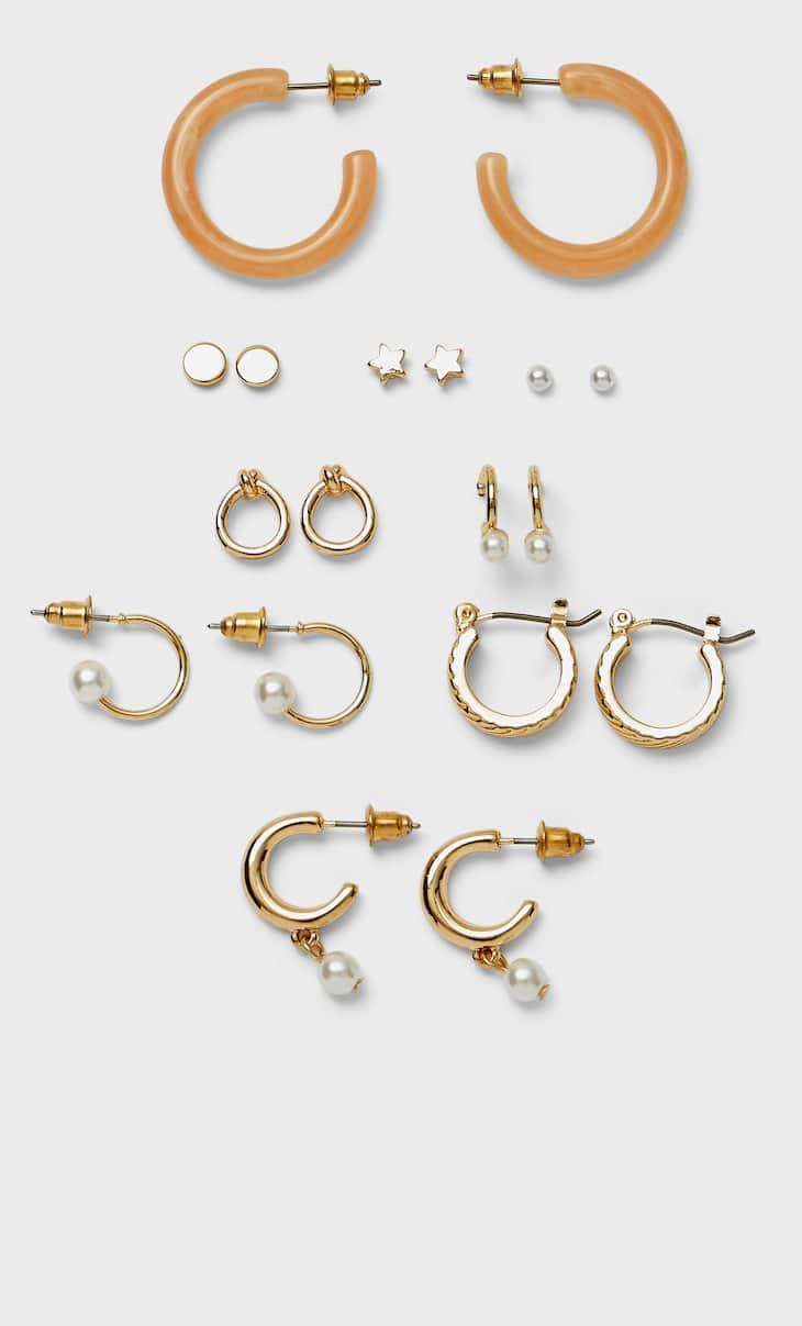Set van 9 paar oorbellen met parels en resine