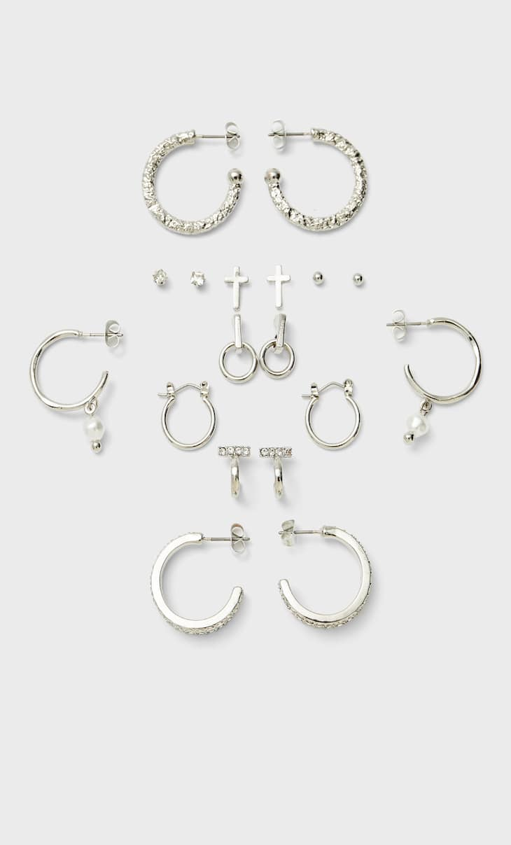 Set of 9 pairs of cross and pearl bead earrings