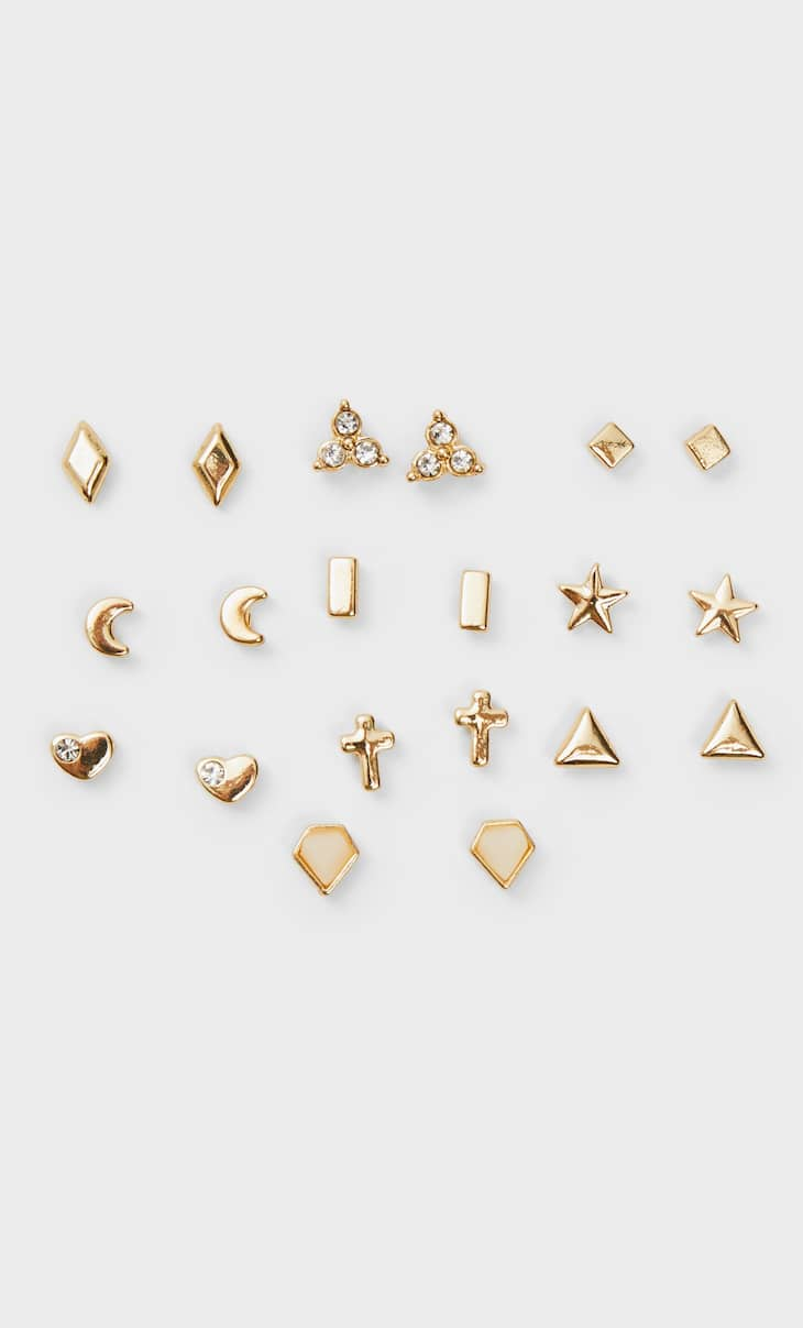 Set of 10 pairs of basic earrings