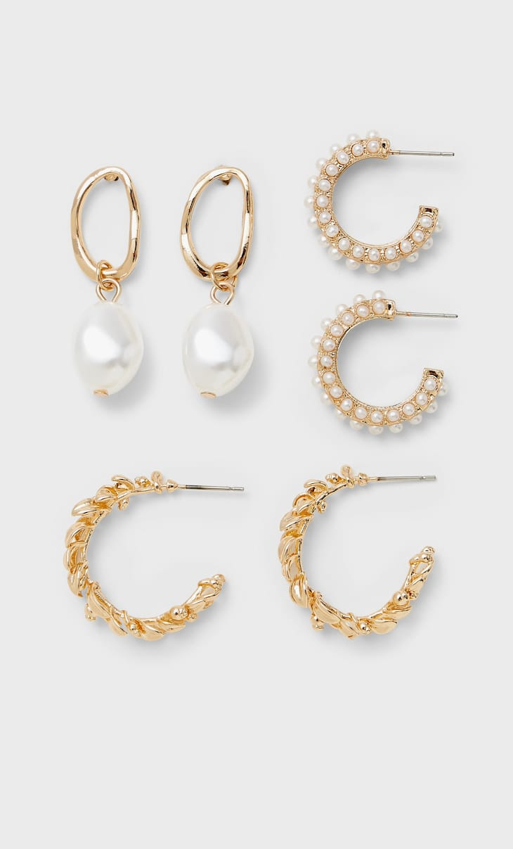 Set of 3 pairs of hoop and pearl bead earrings