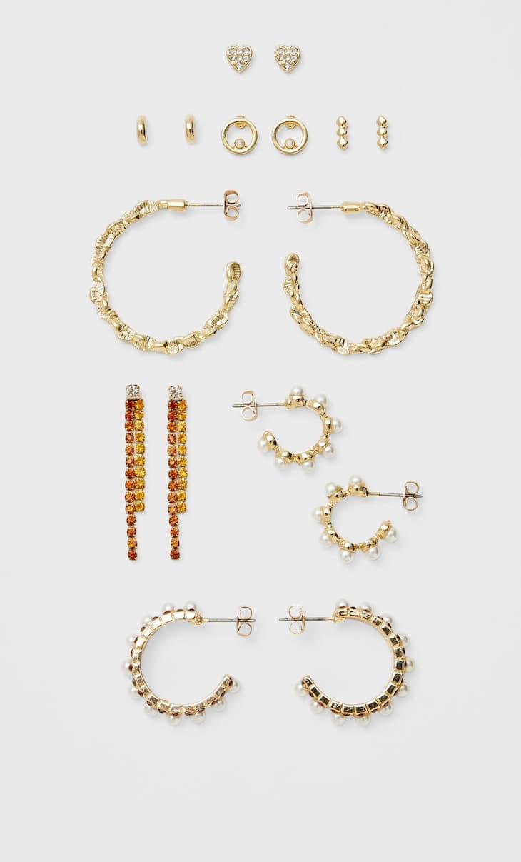 Set van 8 paar oorringen met parels en glazen steentjes