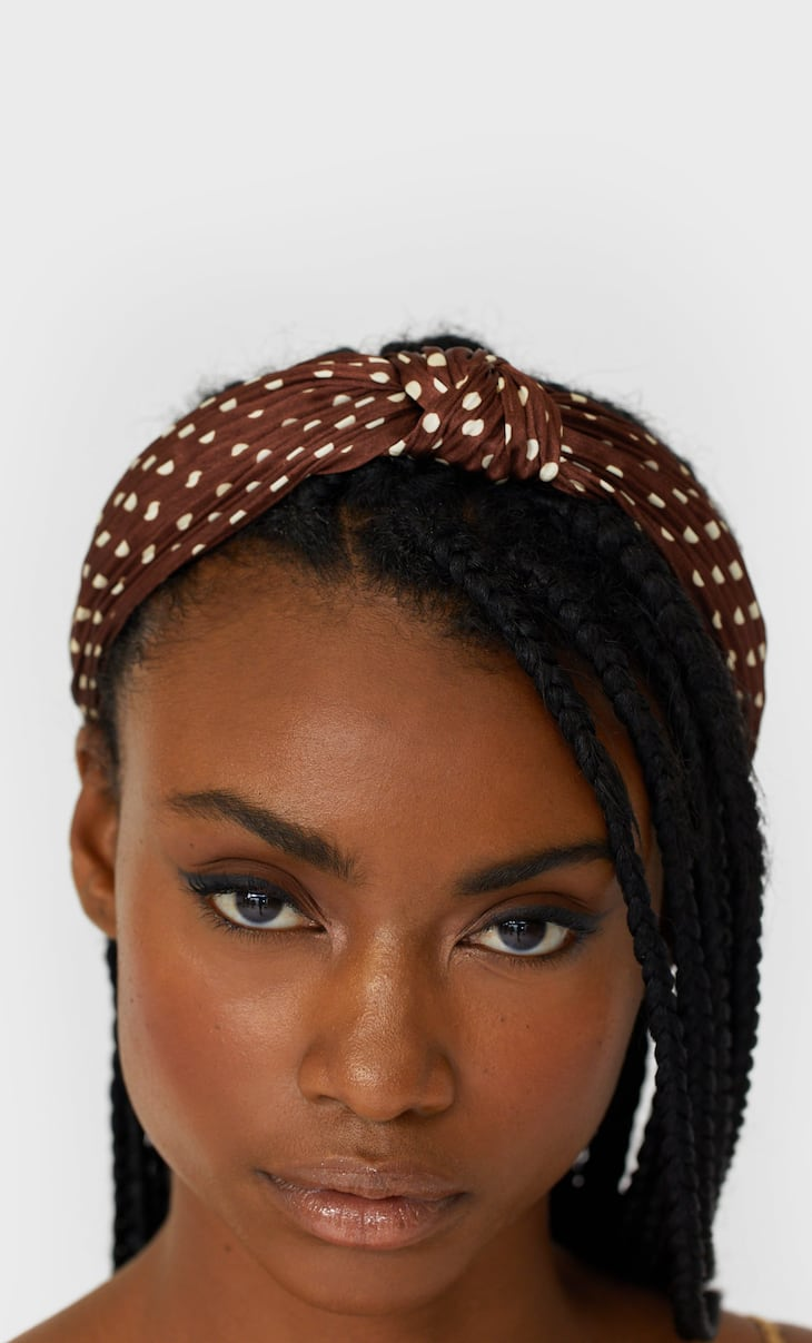 Pleated polka dot headband
