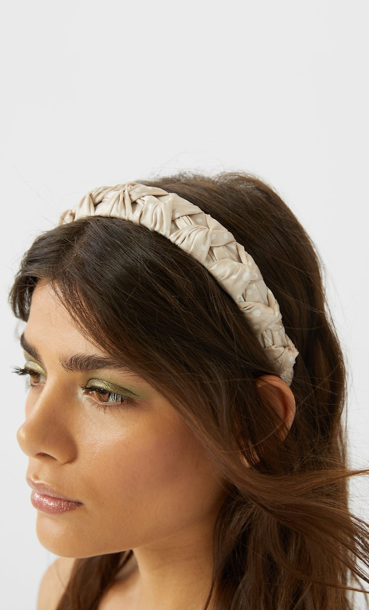Braided polka dot headband