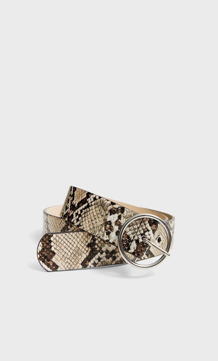 Faux snakeskin belt