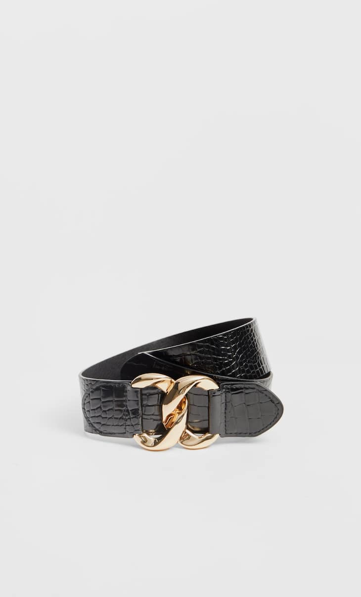 Mock croc faux patent belt