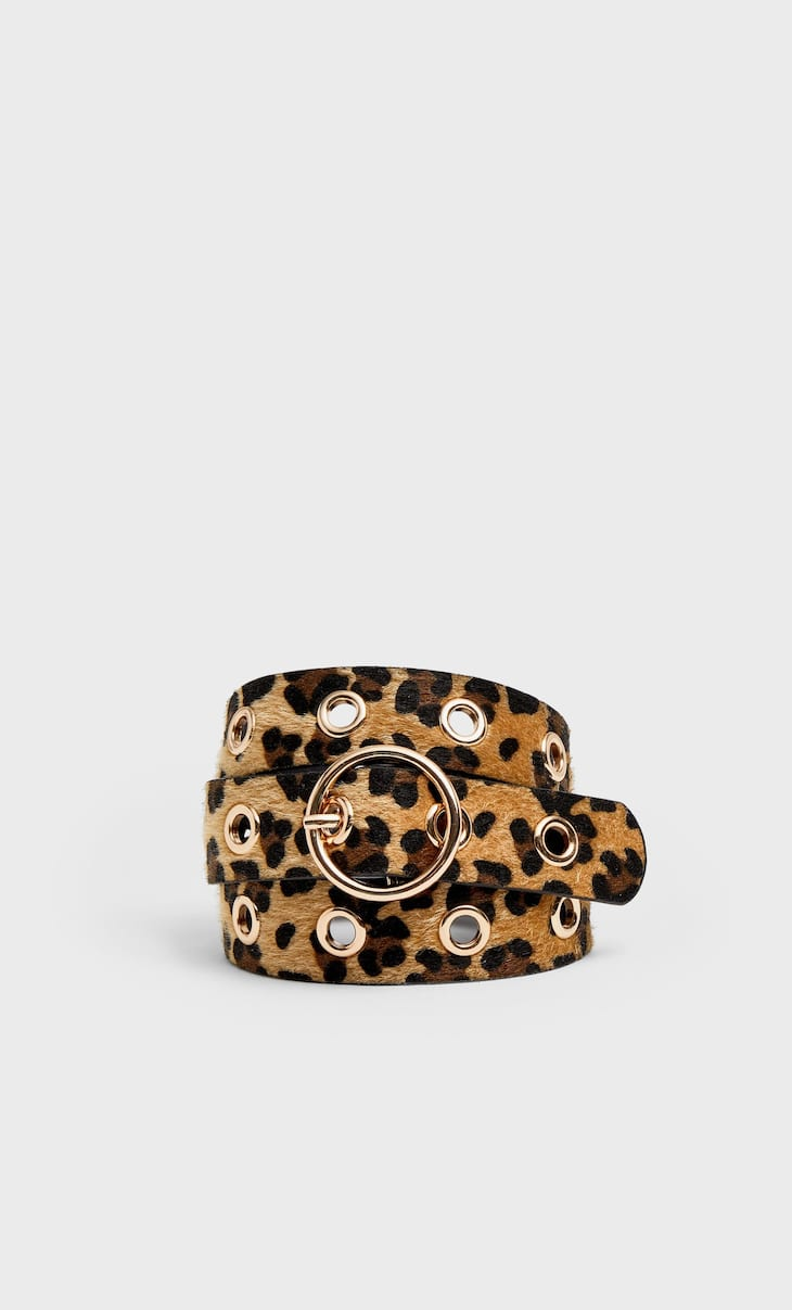 Leopard print belt with eyelets