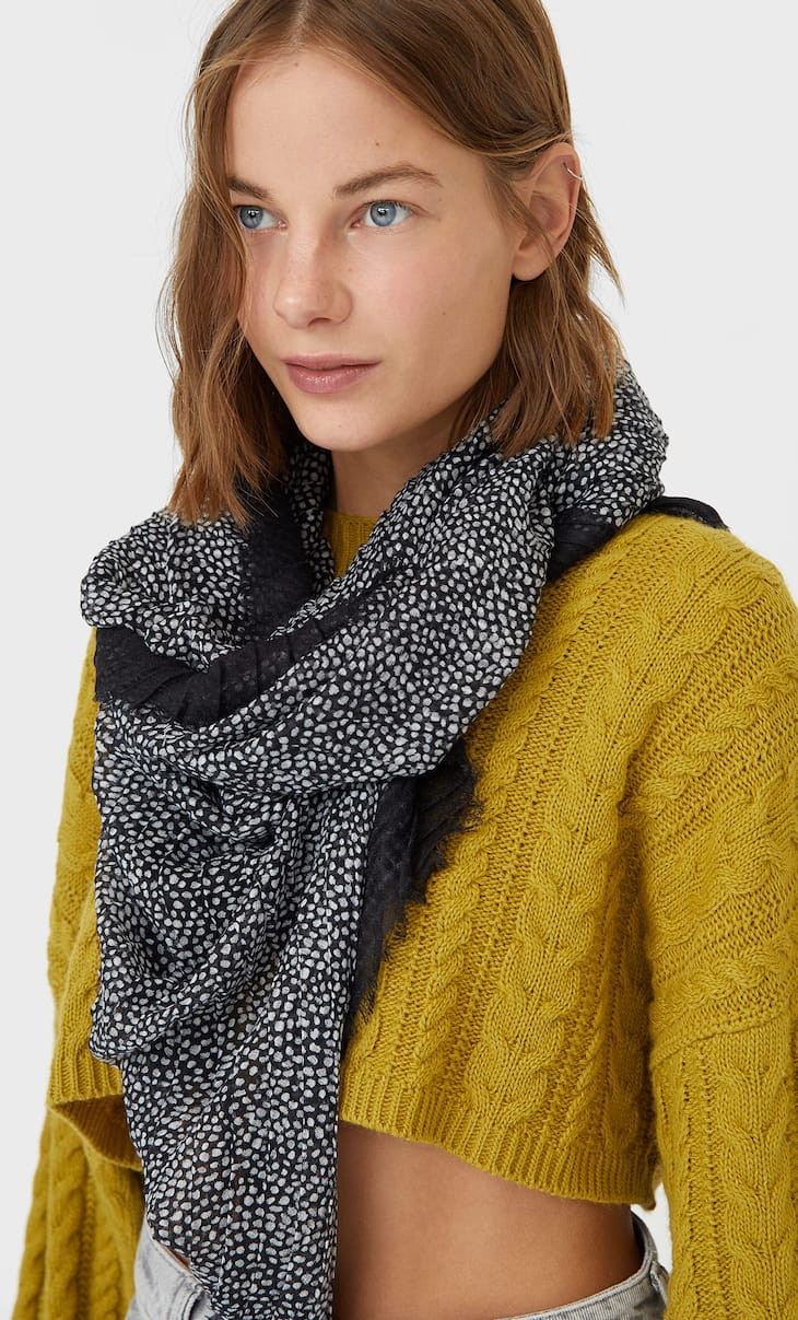 Pleated polka dot scarf