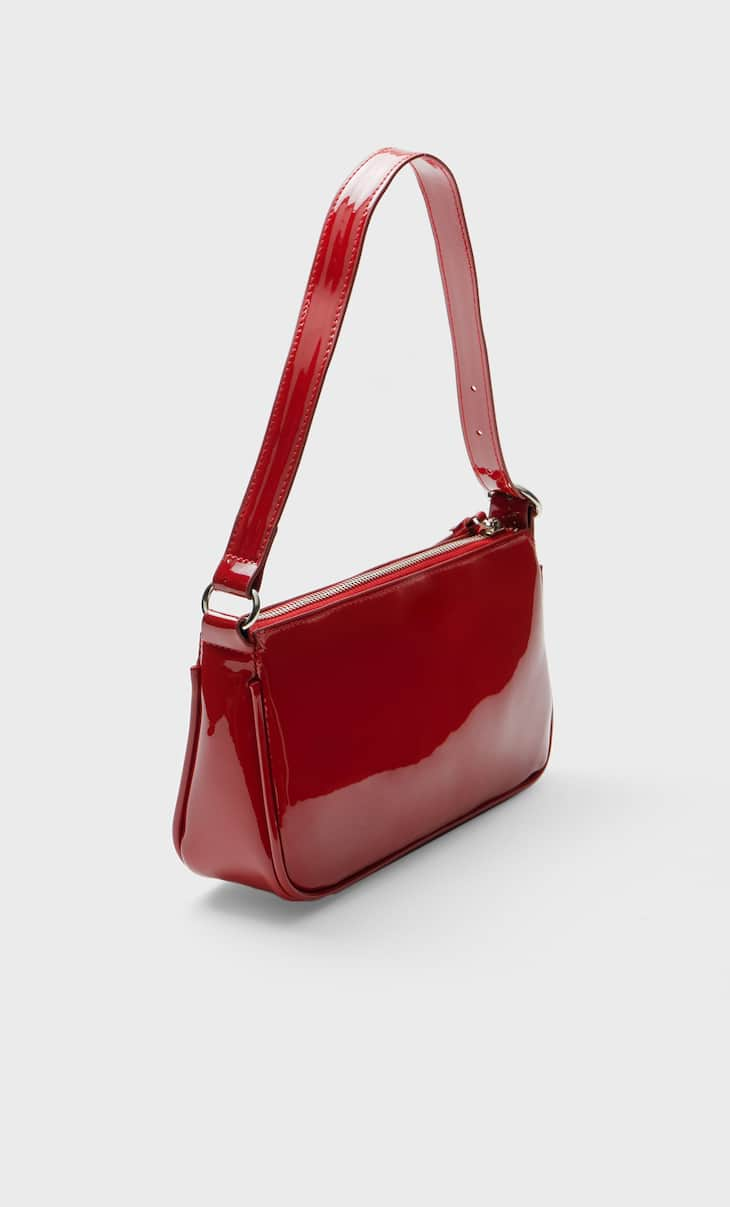 Faux-patent-finish shoulder bag