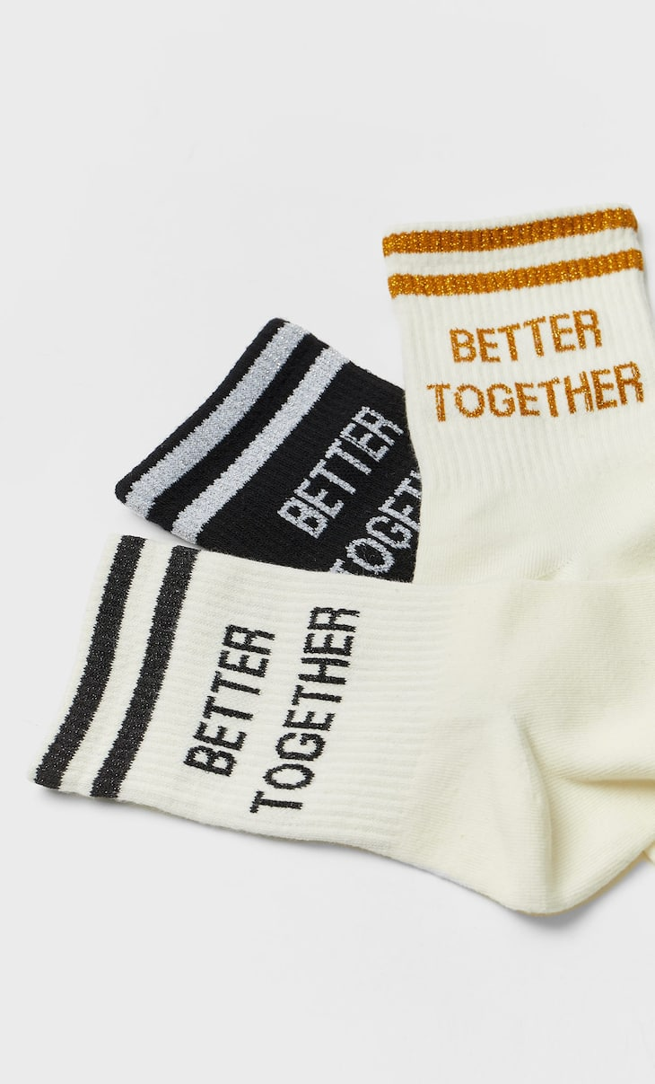 Sports socks with slogan