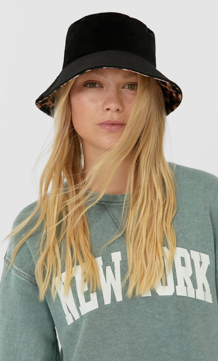 Velvet leopard print bucket hat