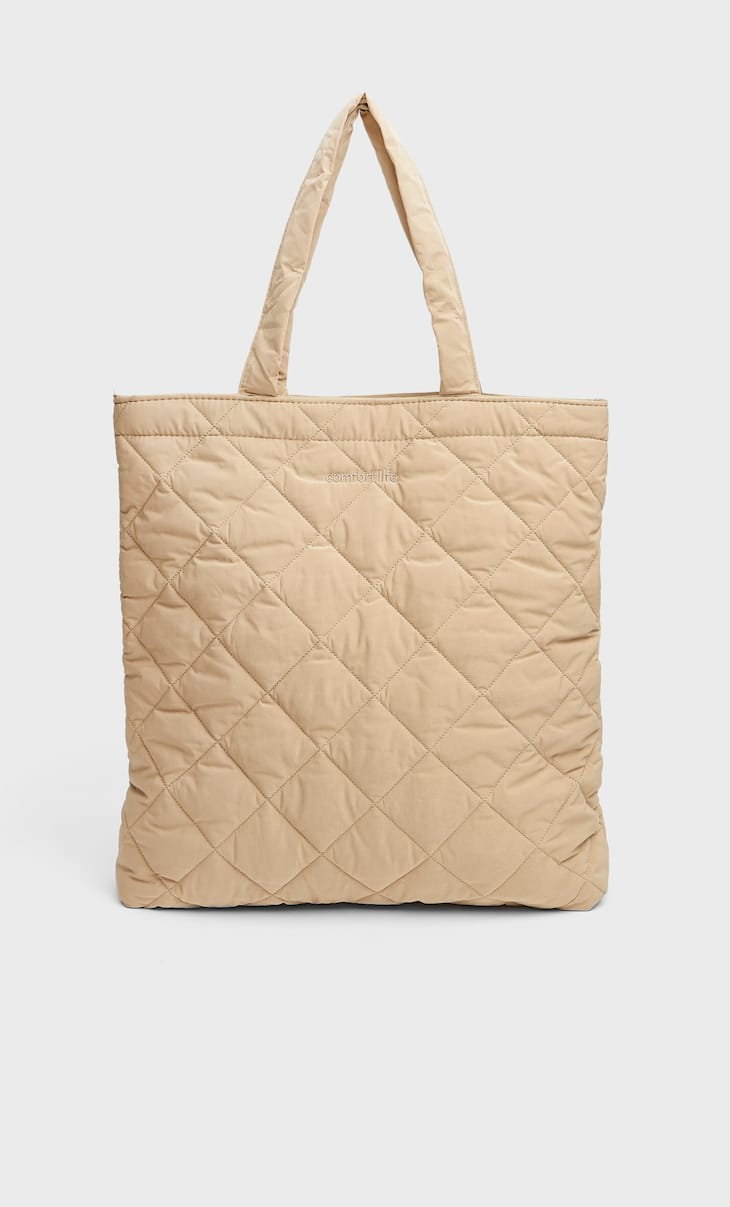 Quilted fabric tote bag
