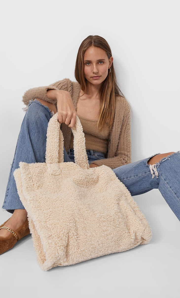 Faux shearling tote bag