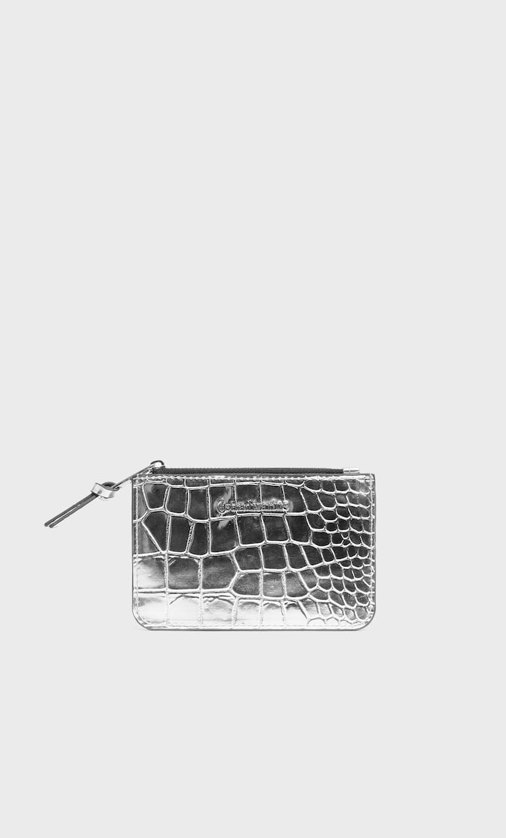 Mock croc card holder