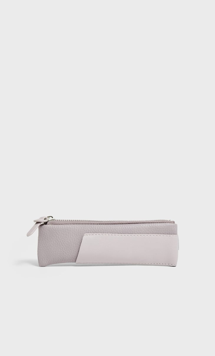 Rubber pencil case with elastic detail
